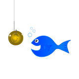 Fish coin. Trying to fish using a gold coin Royalty Free Stock Photo
