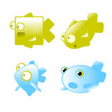 Fish collection. Vector fish icon set collection. Cartoon characters Royalty Free Stock Photo