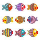 Fish Collection Colorful Graphic Cartoon. Childish illustration set. Vector EPS8. Set 1 Stock Photos