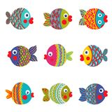 Fish Collection Colorful Graphic Cartoon. Childish illustration set. Vector EPS8. Set 2 Royalty Free Stock Photography
