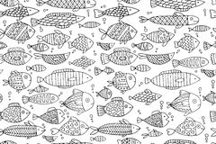 Fish collection, seamless pattern for your design. Vector illustration Royalty Free Stock Photos