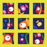 Fish collection. Vector illustration of cute and colorful tropical fish collection in the ocean Stock Photography