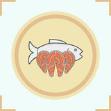 Fish color icon. S set. Seafood. Salmon steaks on wooden plate vector isolated illustration Royalty Free Stock Photography