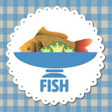 Fish. Colorful menu design with fresh fish on a plate and lime slices decorating the plate Stock Photo