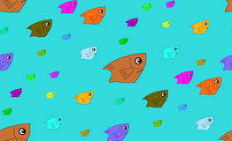 Fish colorful on sea pattern. Vector seamless patterns can be used for wallpaper pattern fills and background Stock Photos