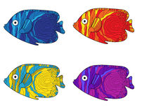 Fish colorful set. Hand drawing. Vector illustration Royalty Free Stock Image