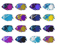 Fish colorful set. Hand drawing. Vector illustration. Stock Images