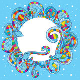 Fish colorful swirl bubble. Illustration abstract fish colorful swirl big white bubble template space blue color background Stock Images