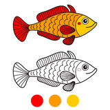 Fish. Coloring book page. Cartoon vector illustration. Royalty Free Stock Photography