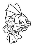 Fish coloring page cartoon Illustrations. Isolated image animal character Royalty Free Stock Photography