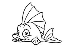 Fish coloring page cartoon Illustrations Royalty Free Stock Image