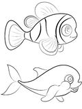 Fish Coloring Page Stock Photos