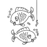 Fish coloring page. Hand drawn two fishes coloring page for kids royalty free illustration