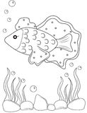 Fish coloring page. Useful as coloring book for kids Stock Photos