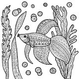Fish coloring page. Royalty Free Stock Images