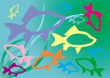 Fish colour. Colour fish on background epidemic deathes and algaes Stock Image