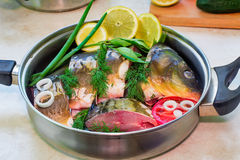 Fish and components for her preparation in a large skillet. Royalty Free Stock Images