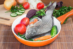 Fish and components for her preparation: vegetables, spices, par Royalty Free Stock Images