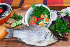 Fish and components for her preparation: vegetables, spices, par Royalty Free Stock Photos