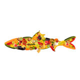 A fish, composed of fruit and vegetables. Collage of a fish, composed of fruit and vegetables Stock Image