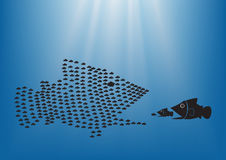Fish concept3. Many  fish together as big fish of concept business teamwork Stock Photos