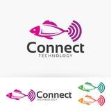 Fish Connect vector logo design Royalty Free Stock Photos