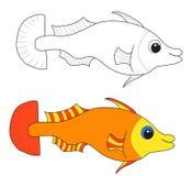 Fish contour coloring Stock Photos