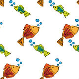 Fish contour hand drawn painted on a white background, seamless pattern Stock Image