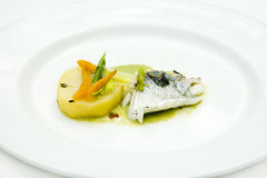 Fish cooked with herbs. And vegetables Stock Images