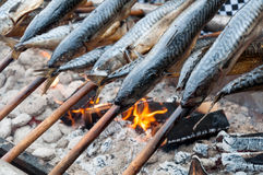 Fish cooking Royalty Free Stock Images