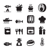 Fish cooking icon set Royalty Free Stock Images