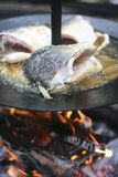 Fish cooking on open fire. Cooking a fresh water fish on a open fire / campfire Stock Photography