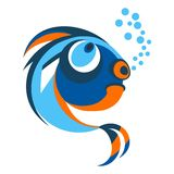 Fish from coral reefs. Funny bright brooding fish. Objects  on white background. Flat cartoon vector illustration Royalty Free Stock Photo