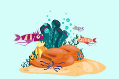 Fish and corals vector illustration. Coral reef and underwater world vector illustration Royalty Free Stock Image