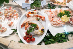 Fish counter in the Alois Dallmayr. Stock Photography
