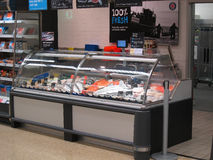 Fish counter in a superstore. Royalty Free Stock Photo