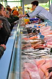 Fish Counter at Weekend Market in France Stock Photo