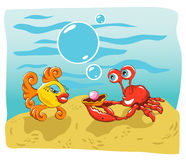 Fish And Crab. Vector illustration of a happy crab giving a pearl gift to a fish on her birthday, or maybe proposing marriage Royalty Free Stock Photo