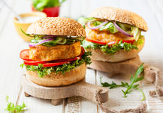 Fish and crab burgers Stock Image