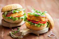 Fish and crab burgers Stock Images