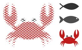 Fish Halftone Crab Mosaic. Fish crab halftone composition. Vector fish pictograms are grouped into crab composition. Seafood design concept Stock Photos