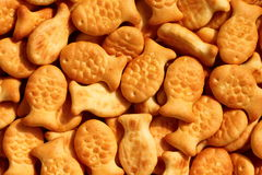 Fish crackers. Fish shaped crackers close-up view Royalty Free Stock Image