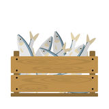 Fish in crate. Vector crate with seafood. Natural, healthy food concept. Fresh sea animals collected in the wooden box. Flat design style Stock Image