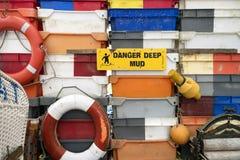 Fish Crates on the North Frisian Island Amrum Royalty Free Stock Photos