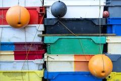 Fish Crates on the North Frisian Island Amrum Royalty Free Stock Photography