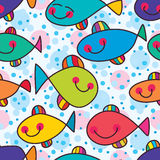 Fish crazy of colorful seamless pattern. This illustration is freedom fish happy swimming abstract colorful moving in seamless pattern, circle with free and Stock Photo