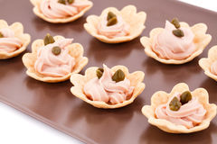 Fish cream and capers in pastries Stock Photo
