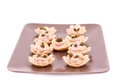 Fish cream and capers in pastries Royalty Free Stock Image