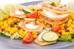 Fish cream on crackers. Fish cream in pastries, sweet corn, cherry tomato and lettuce on gray plate Stock Photo