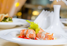 Fish and Cream Dish on Restaurant Table Royalty Free Stock Images
